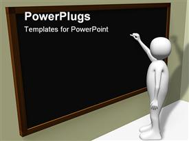 PowerPoint template displaying person writing on blackboard with chalk