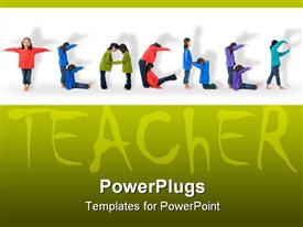 PowerPoint template displaying two young Asian girls spell out the word teacher