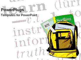 PowerPoint template displaying backpack ready for school