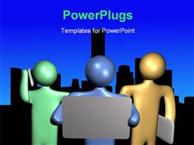 PowerPoint template displaying a number of figures with a bluish background