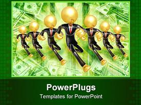 PowerPoint template displaying a background showing money and golden men wearing suits running