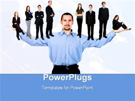 PowerPoint template displaying business man with arms open hands facing up with his team in the background.