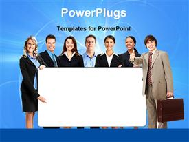 PowerPoint template displaying business team in the background.