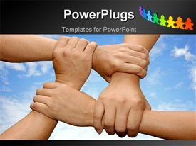 PowerPoint template displaying business team holding hands with a sky background