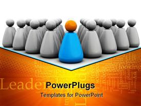 PowerPoint template displaying business team with leader symbol in the background.
