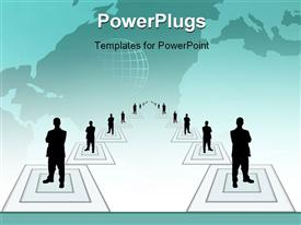 PowerPoint template displaying lots of business men standing on white cubes in straight lines