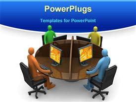 PowerPoint template displaying 3D four figures around a round table working on desktop computers