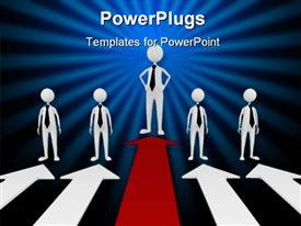PowerPoint template displaying five 3D human characters wstanding of four white and one red arrow