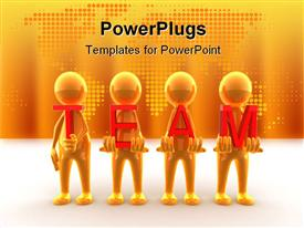 PowerPoint template displaying four people showing the teamwork with orange background