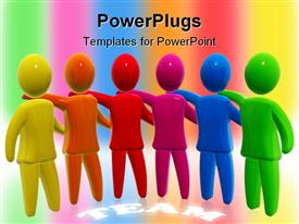 PowerPoint template displaying colorful figures holding each other with TEAM text in background