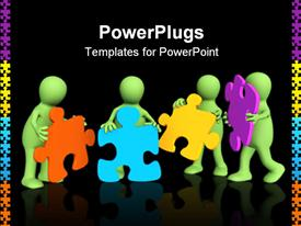 PowerPoint template displaying four puppets holding in hands a puzzle in the background.