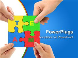 PowerPoint template displaying four colorful puzzle pieces being put together by adult hands