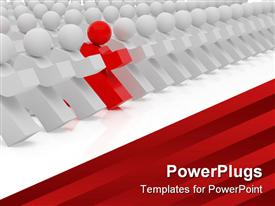 PowerPoint template displaying high resolution depiction people. 3D depiction over white backgrounds in the background.