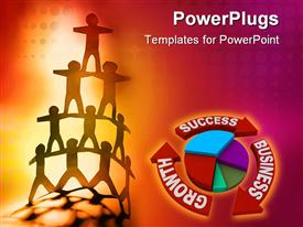 PowerPoint template displaying human team pyramid on color background