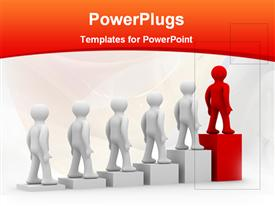 PowerPoint template displaying a number of people going up a growth table