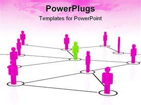 PowerPoint template displaying chart of figures with purple pink figures and a green figure depicting the concept of leadership or teamwork