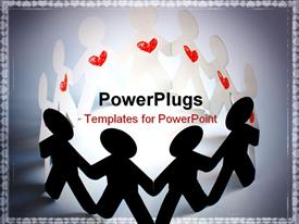 PowerPoint template displaying paper people. people with heart. passionate people