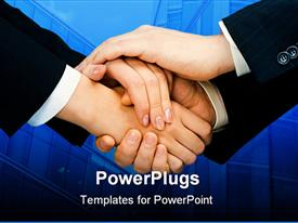 PowerPoint template displaying pile of human hands