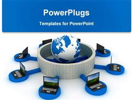 PowerPoint template displaying lots of laptops on a blue stand surrounding an earth globe