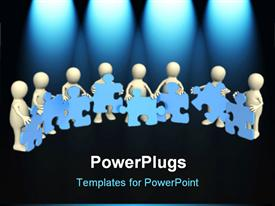 PowerPoint template displaying puppets holding in hands a puzzles in the background.