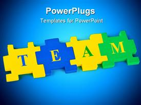 PowerPoint template displaying four multi colored puzzle pieces forming the words team