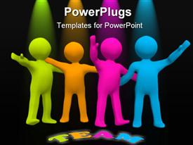 PowerPoint template displaying four multi colored human figures with a Team text