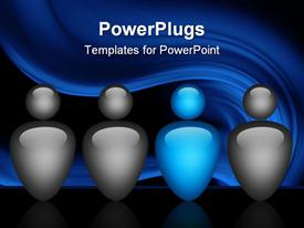 PowerPoint template displaying team depiction with blue and grey colors in the background.