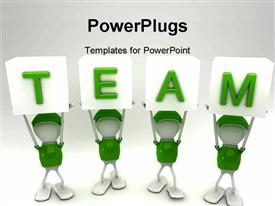 PowerPoint template displaying team players working together side by side