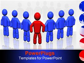 PowerPoint template displaying team of seven persons with one leader in the background.