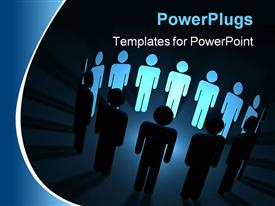 PowerPoint template displaying lots of 3D human characters standing round a shinning light