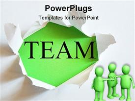 PowerPoint template displaying teamwork concept with a hole in white paper