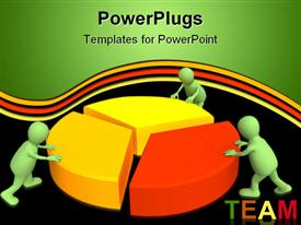 PowerPoint template displaying a pie chart with figures and blackish background
