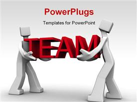 PowerPoint template displaying two man work together to carry the team word 3D in the background.
