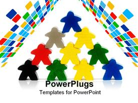 PowerPoint template displaying multi colored human characters stacked up in a pyramid shape
