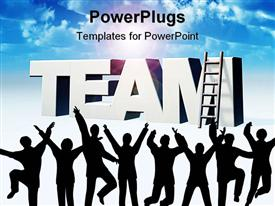 PowerPoint template displaying the word team and a ladder in front of blue sky - 3D in the background.