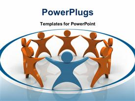 PowerPoint template displaying depiction of business team with 3D characters holding hands in circle