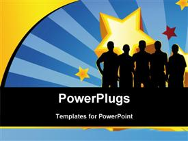 PowerPoint template displaying team on the background - poster in the background.