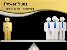 PowerPoint template displaying balance with golden figure on one side and four white figures on other side
