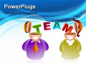 PowerPoint template displaying the representation of teamwork with bluish background
