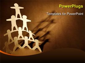 PowerPoint template displaying human team pyramid on dark brown background