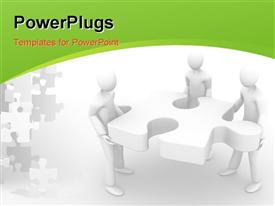 PowerPoint template displaying a number of people with a puzzle piece and white background