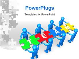 PowerPoint template displaying people holding pieces of a jigsaw puzzle with the word team