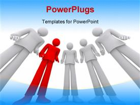 PowerPoint template displaying team of business people who look with interest in the background.