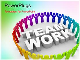 PowerPoint template displaying a number of figures in a circle with the word teamwork