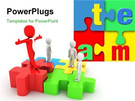 PowerPoint template displaying depiction of teamwork with team standing on colorful jigsaw puzzle