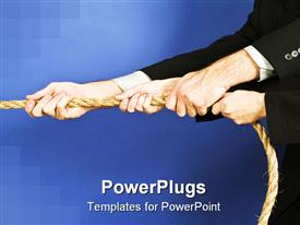PowerPoint template displaying group of arms in black suit jackets with hands holding rope, teamwork