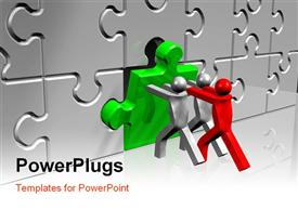 PowerPoint template displaying one red and two silver figures pushing green puzzle piece into place
