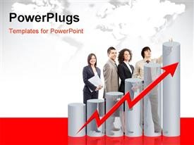 PowerPoint template displaying business people team and graph