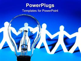 PowerPoint template displaying bulb and team of paper man showing concept of teamwork