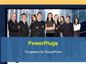 PowerPoint template displaying business team in a corporate environment with buildings at the background